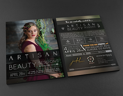 Artisan Beauty Sessions flyer design and event identity