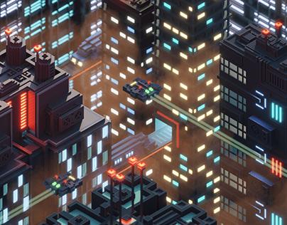 Voxel cityscape