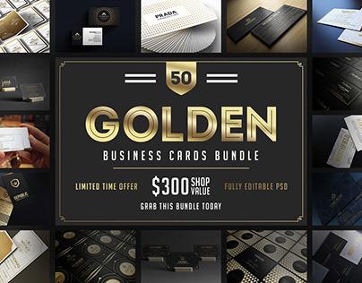 50 Golden Business Cards Bundle