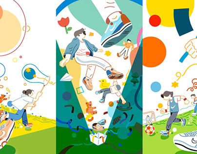 Children's Day illustrative poster about shoes