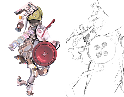 Toy collage + sketch
