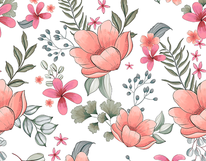 Floral collection (frame and seamless pattern)