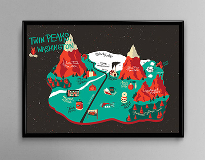 Twin Peaks Hand-Lettered Map