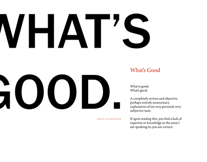 """""""What's Good"""" Book"""