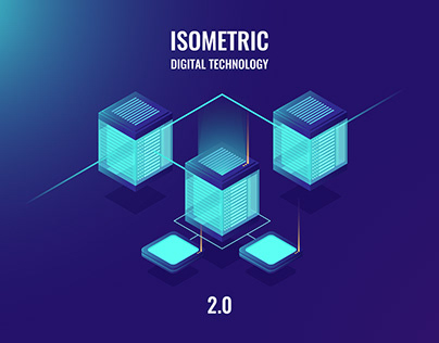 Digital technology desing in isometric neon style