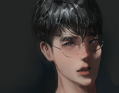 Digital painting portrait in anime style.
