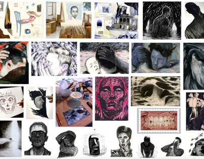 Examples of drawings, paintings, prints, illustration