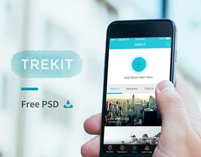 TREKIT   Mobile App Design Free PSD