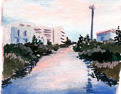 Gauche Plein Air Painting