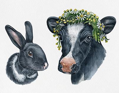 Bunny & Cows