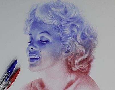 marilyn monroe with ballpoint pens