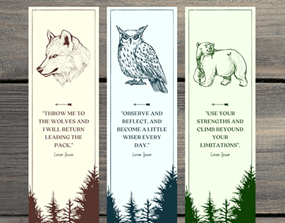 Bookmarks - Wolf, Owl and Bear