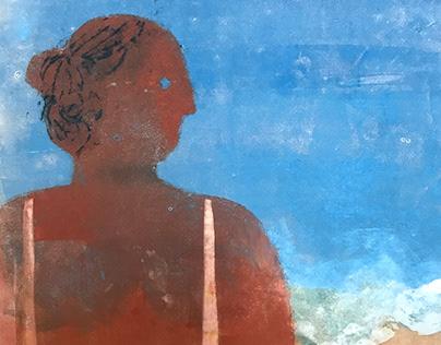 beach girl - monotype printmaking