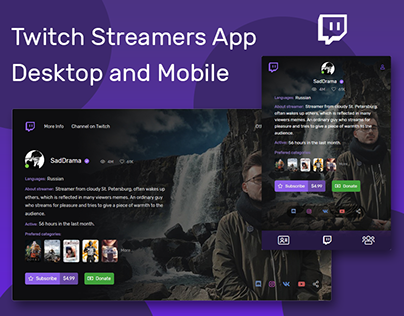 Twitch Streamers App | Desktop and Mobile
