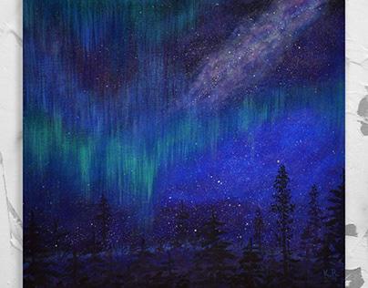 Aurora borealis. Northern lights.
