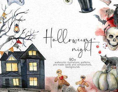 Happy Halloween night. Watercolor