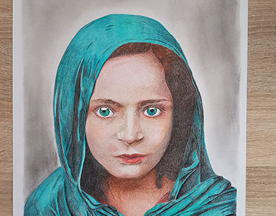 Afghan girl colored pencil drawing