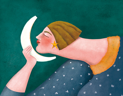 Woman with watermelon fruit as the moon illustration.