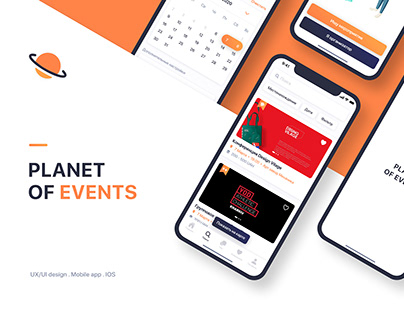 Planet of events design mobile app. UX/UI