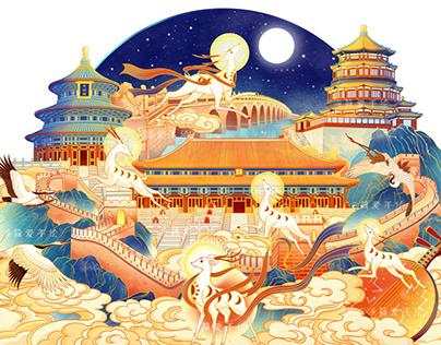 Mid-Autumn Festival packing illustration白鹿追月中秋包装插画