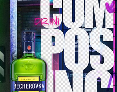 Becherovka poster composing