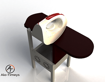 3D model of a chair/ironing board duo.