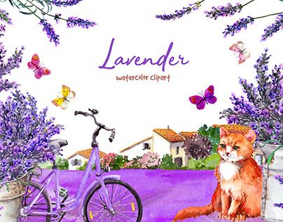 Lavender. Watercolor clipart