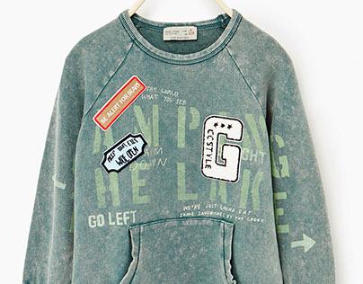 ZARA BOYS - Washed Sweatshirt w/ patches