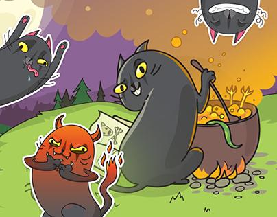 Black Cat Mysti. Sticker Pack for VK.com