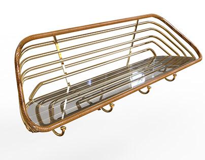 Shelf Design - BRASS-RATAN-GLASS. 2018
