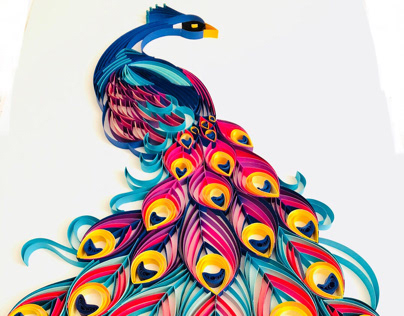 Paper quilled peacock exhibiting their exotic plumage