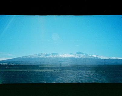 Road from Armenia to Georgia with Panorama film camera