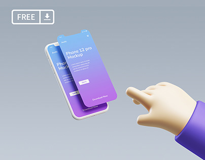 iPhone Mockup with cute 3D hand holding it
