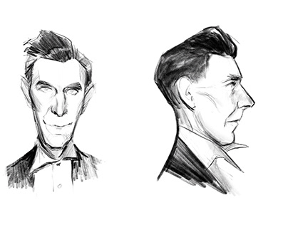 Sketches inspired by old police mugshots