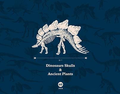 Dinosaur Skull & Ancient Forest Vector Illustration