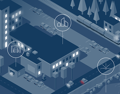 Isometric city at night illustration & brochure layout