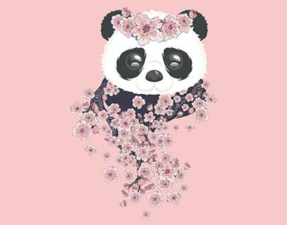 Panda with Sakura branch