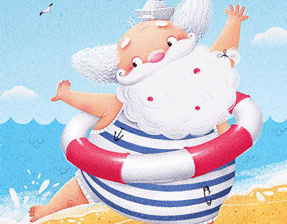 Santa at the sea.