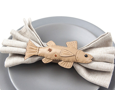Leather brown trout napkin rings