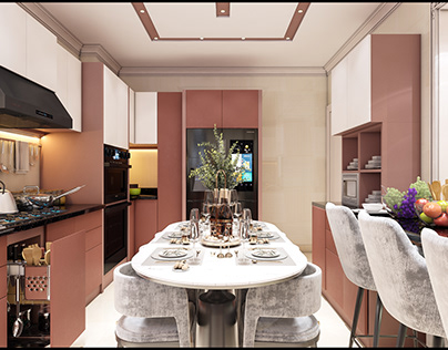 Postmodern design for living room with kitchen in Egypt