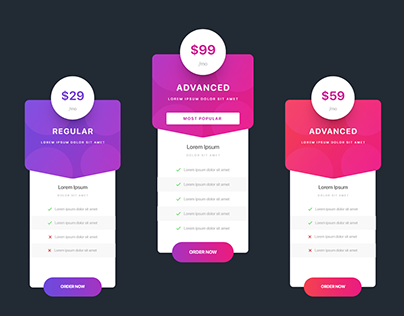 XD Daily Creative Challenge #1 Pricing table