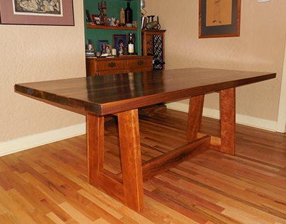 Dining room table with walnut top and cherry base