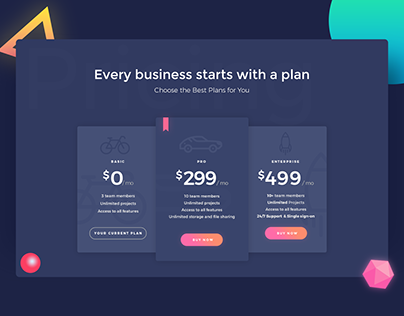 Pricing Plan UI Concept - #DailyUI #030
