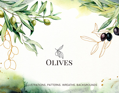Olives. Watercolor collection