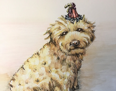 Pet Portrait, Watercolor Pencil and Pen-and-Ink.