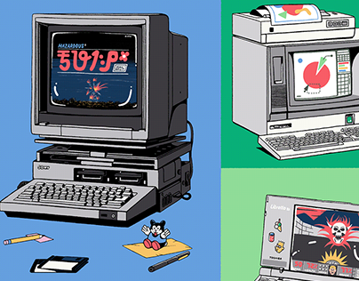 Historic Personal Computers Illustration