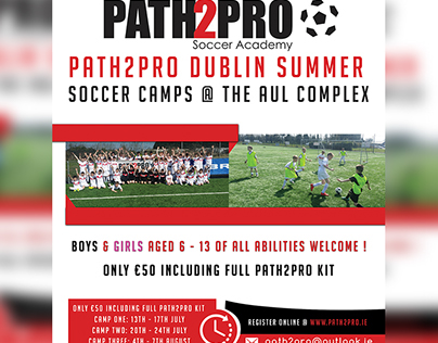 flyer for path2pro soccer academy