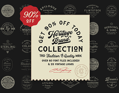 The Heritage Brand Collection (60 Fonts, 25 Templates)