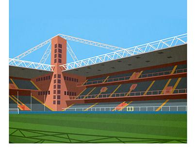 Minimalist style illustration for football stadium