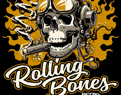 Rolling Bones - T-shirt artwork and Hot Rod Car-toons